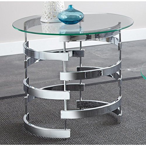 Greyson Living Tisbury Round End Table | 8mm Thick Tempered Glass Top Gives a Light, Airy Feel For Sale