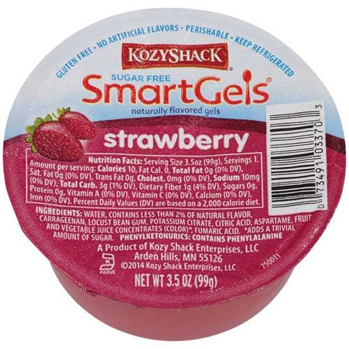 Kozy Shack Sugar Free Strawberry Gel, 3.5 Ounce -- 48 per case.