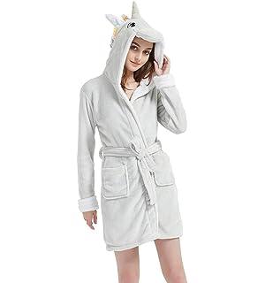 NOUSION Kids Bathrobe Unicorn Fleece Sleepwear Comfortable Loungewear