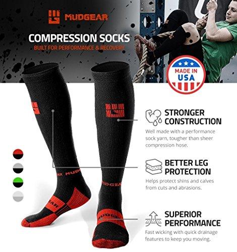 MudGear Premium Compression Socks - Mens & Womens running hiking trail (1 Pair) by MudGear (Image #2)