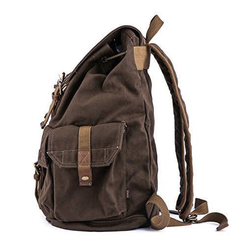Gootium 21101CF Specially High Density Thick Canvas Backpack Rucksack,Coffee by Gootium (Image #3)