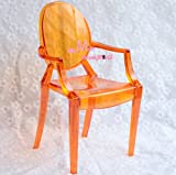 1/6 Barbie Blythe Orange Tranparent Plastic Arm Toy Chair Dollhouse Miniature