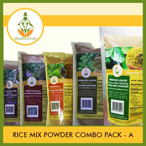 Shastha Rice Mix Powder Combo Pack A (Contains 12 Pkts) Shastha (Vallarai Keerai, Mudakkathan, Drumstick Leaves, Ponnangannai, Thoodhuvalai & Manathakkali) Leaves Rice Mix (Each Pkt 200g) T-B