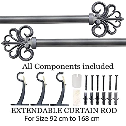 Deco Essential Iron Extendable Curtain Rod (36-66-inch)(Charcoal)