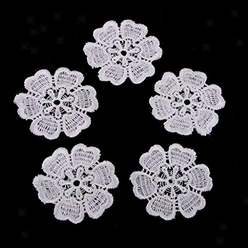(5Pcs Embroidery Flower Sew On Patch Badge Dress Bags Hats Cloth Appliques   Color - White)
