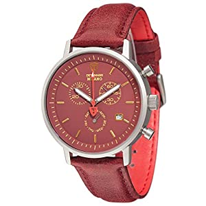 DETOMASO Milano Men's Wrist Watch Chronograph Stainless Steel Dark Red Yellow Leather Strap