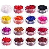 Mica Powder, Soap Making Kit Pigment Powder Set 16PCS Natural Color Makeup Dye Set for Soap Candle Making Nails Bath Bombs Lipstick Eye Shadow