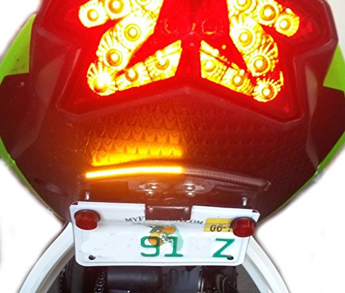 Kawasaki Ninja ZX6R SS LED Low Profile Fender Eliminator Kit - Integrated Brake and Turn Signals, Smoked Lens ()