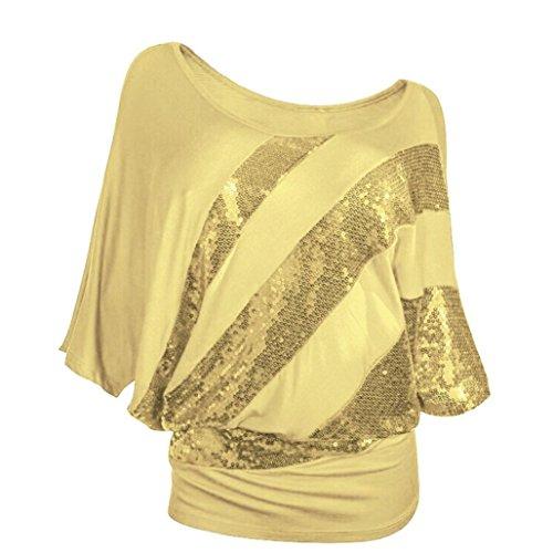 iTLOTL Women Sequin Causel T-Shirt Top Cold Shoulder Blouse Plus Size(S,Yellow)