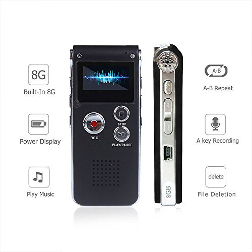 Price comparison product image Digital Audio Voice Recorder by ROCSUN,  Portable Multifunctional Rechargeable Dictaphone,  MP3 Music Player,  8GB Memory Internal,  USB port,  Dual Microphone,  Professional Dynamic Noise Reduction (Black)