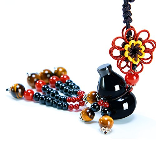 MATEPROX Car Hanging Charms, Dangling Decoration Vehicle Accessory Rearview Mirror Pendant Natural Obsidian Jade Stone Gourd with Tassel for Luck Safety Fortune Blessings