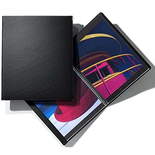 (Prat Classic 142 Deluxe Leather Covered Spiral Book with 20 Sheet Protectors, 11 X 8.5 inches, Black)