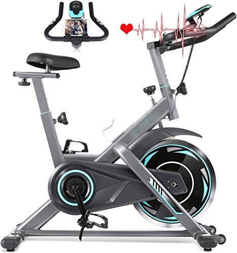 Exercise Bike, Indoor Cycling Bike Stationary with Heart Rate Monitor & LCD Monitor, Comfortable Seat Cushion, Cardio…