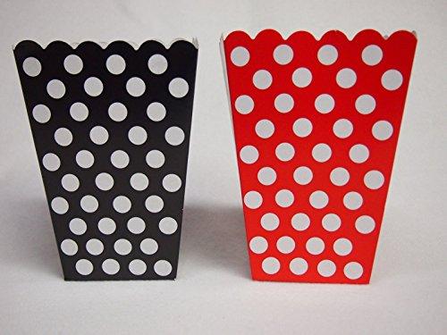 Mickey Mouse 16 Polka Dot Treat Goody Favor Popcorn Boxes Bag Birthday Black/Red -