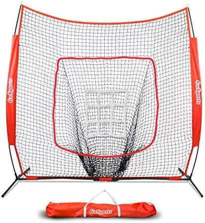 GoSports 7 x 7 Baseball Softball Practice Hitting Pitching Net with Bow Frame, Carry Bag and Bonus Strike Zone, Great for All Skill Levels