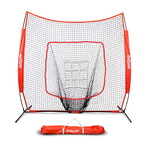 GoSports 7' x 7' Baseball & Softball Practice Hitting & Pitching Net with Bow Frame, Carry Bag and Bonus Strike Zone, Great for All Skill Levels (Best Baseballs For Batting Practice)