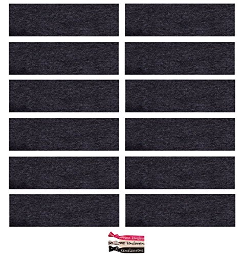Kenz Laurenz Soft and Stretchy Elastic Cotton Headbands, (Pack of 12) - Charcoal Grey