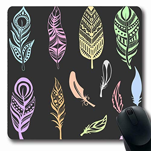 - Mousepads Fastening Blue Abstract Ethnic Feathers Pastel Colors American Dream Pink Aztec Bird Design Catcher Non-Slip Gaming Mouse Pad Rubber Oblong Mat