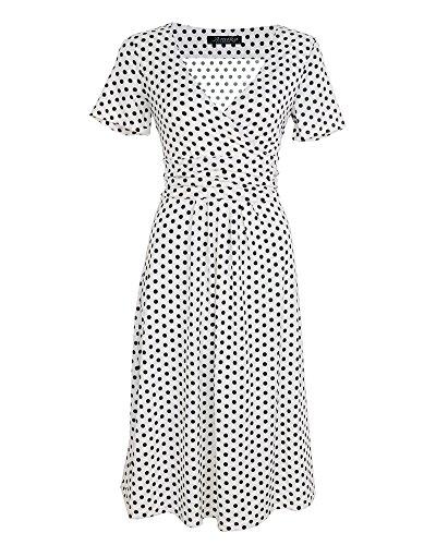Moollyfox Mujer Vestido Estilo Jersey Corto Manga V-cuello Plisado Vestido de Corte Imperio Blanco Punto