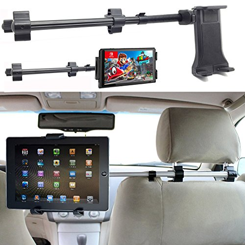 ChargerCity Premium Center Extension Car Seat Headrest Mount w/ Universal Tablet Cradle Holder for Apple iPad Air Pro 12.9 Mini Samsung Galaxy Tab Surface Pro (Fits All 7 - 12 inch screens)