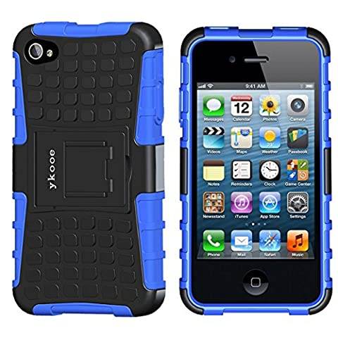 iPhone 4s Case, ykooe (Tire Pattern Series) iPhone 4 Protective Cases Hybrid Impact Resistant Shockproof Slim Hard Shell Cover With Built in Stand for Apple iPhone 4S/4 (Iphone4 Tough Cases)
