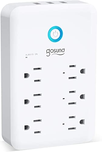 Smart Outlet, Gosund Wall Outlet Extender 15A 1800W , Multi WiFi Plug with 3 USB Ports 5V 3A 24W and 6 Outlet Wall Adapter Plug Expanders Surge Protector Works with Alexa and Google Home