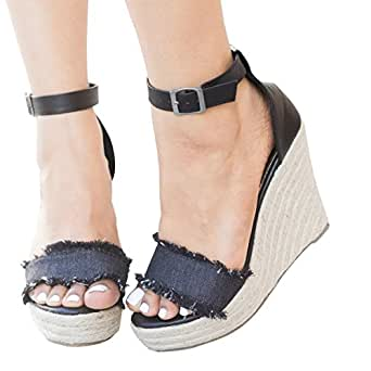 3171ee70c Image Unavailable. Image not available for. Color  Women Sandals Wedges  Boho Braided ...