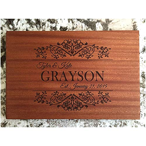 Personalized Gifts Couples Cutting Board - Wood Cutting Boards Bridal Shower, Housewarming, and Wedding Gifts (10 x 15 Mahogany Rectangular, Grayson Design)