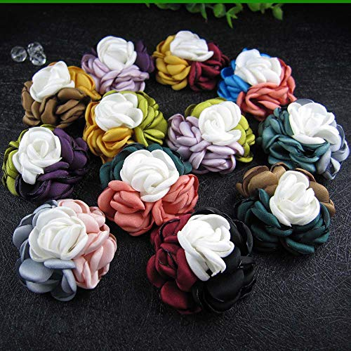 ORCHILD Flora flower headband!12pcs/lot 2inch New Fabric Rose Flowers Women Hair Accessory for Hair Clip Or Hair Bands ()