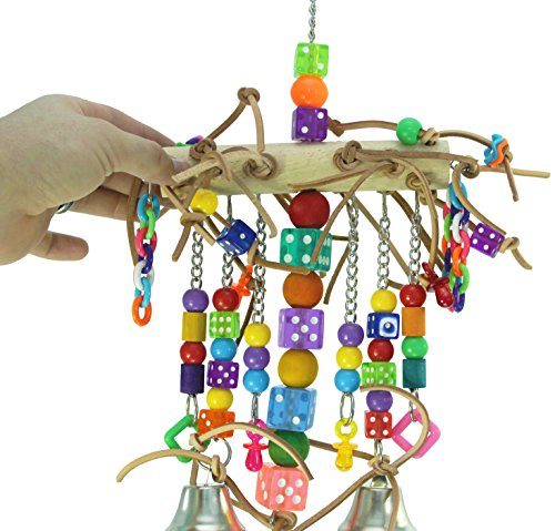 Image of Bonka Bird Toys 1746 Leather Chain Waterfall Tower Toy Rope Parrot Cage Dice Cages African Grey Amazon Conure Wooden Perch Aviary Swing