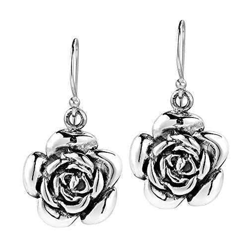 Sweet Blooming Rose .925 Sterling Silver Dangle Earrings