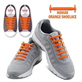 Homar Waterproof Reflective No Tie Shoe Laces Elastic Athletic Shoelace for Sneakers Boots Skateboard Hiking Sport Shoe - Orange