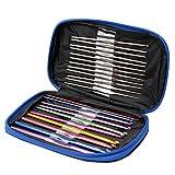 Naisidier 22pcs Aluminium Crochet Hooks Knitting Needles Kit - 0.6mm to 6.5mm DIY Weave Yarn Kit for Weaving Knitting Crafts with Blue Storage Case