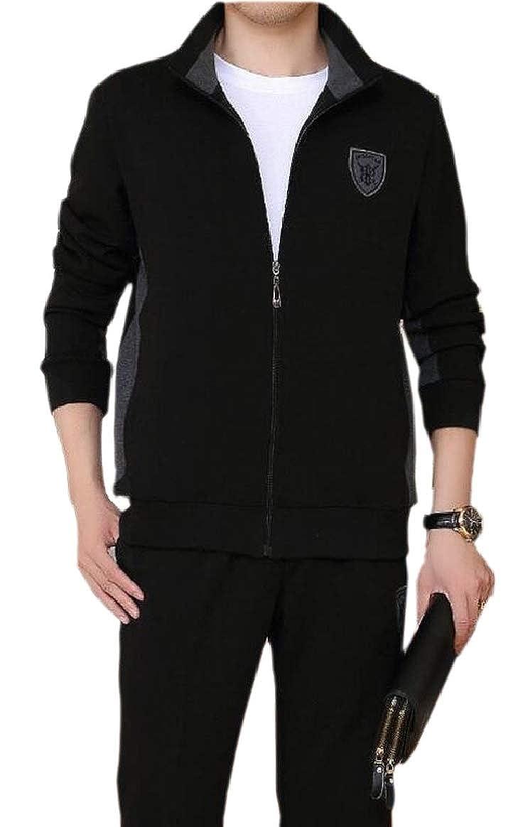 Black US Medium pujinggeCA Men Plus Size Long Sleeve Thickened Leisure Business Fleece Sweatsuit
