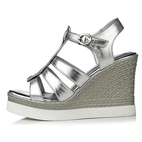 Solide Sandalen Silber Material Blend Offene Damen Schnalle Zehe VogueZone009 Heels High zawgtqxBc4