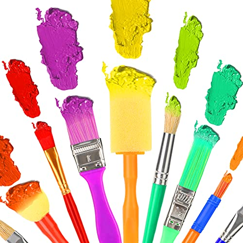 MCPINKY Paint Brushes for Kids, 29PCS All Purpose Paint Brushes with Collapsible Bucket for Acrylic, Oil, Watercolor, Gouache