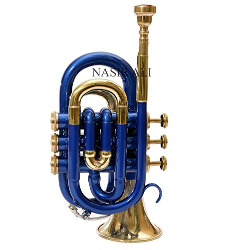 POCKET TRUMPET Bb PITCH BLUE COLORED WITH HARD CASE AND MP