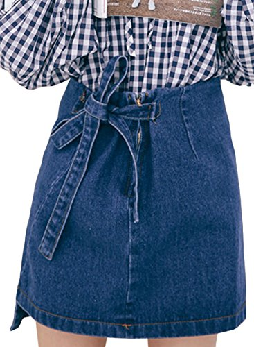 Tie Women's Mini Blue Skirt Denim Bow Achicgirl Fashion Light qPCvwOv