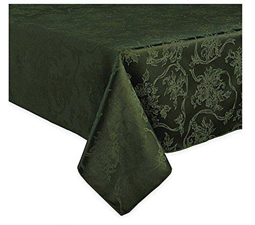 Linen Damask Fabric (Christmas Ribbons & Poinsettia Green Damask Fabric)
