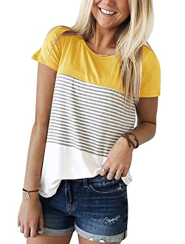 Glomeen Women's Casual Tops Summer Round Neck Striped Short Sleeve Blouse T-Shirt Tops ()