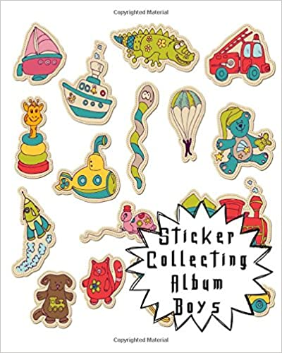 Sticker Collecting Album Boys: Blank Sticker Book, 8 x 10, 64 Pages