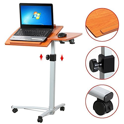 Bedside table for laptop - Adjustable on wheels - a comfortable desk and other - in the bed couch armchairs - great for hospital apartment office or dormitory
