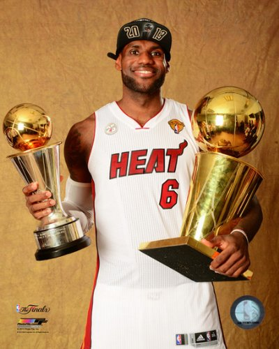 LeBron James Miami Heat 2013 NBA Finals Championship & MVP Trophy Photo - Miami Heat Championship