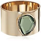 Kenneth Cole New York Scattered Pave Gold Tone Hinge Bangle with Green Stone Cuff Bracelet