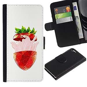 RenCase / Flip Funda Carcasa PU de Cuero para Apple Iphone 5 / 5S - Strawberry Flavor Burst Verano Rojo;