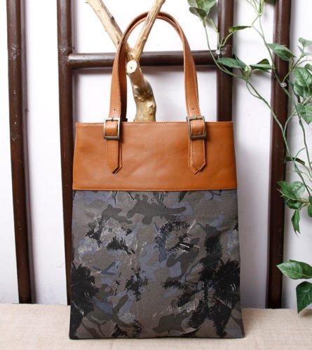 Canvas Leather shoulder tote bag shopper market bag fabric Messenger handmade Bag