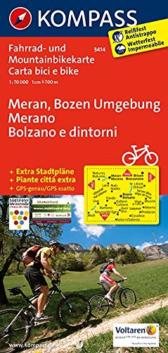 Meran, Bozen Umgebung - Merano, Bolzano e dintorni: Fahrrad- und Mountainbikekarte. GPS-genau. 1:70000 (KOMPASS-Fahrradkarten International, Band 3414)