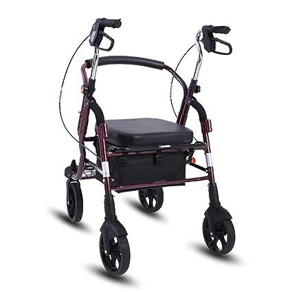 ShenZuYangShop Carrito de Compras aleación de Aluminio deshabilitado Plegable portátil Walker rollator polea Ajustable en Altura