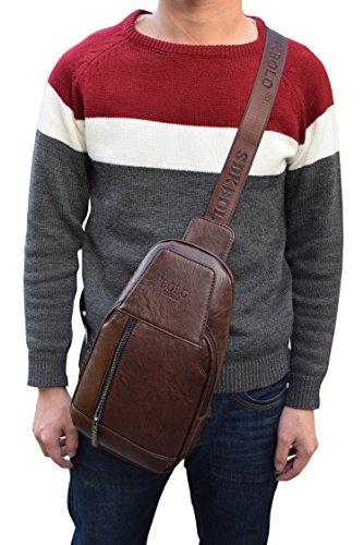 Sling Backpack Vintage Shoulder Chest Pack Crossbody Backpacks PU Leather Mens Bags Travel Casual Backpacks Waterproof Brown