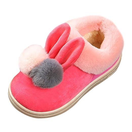 YanHoo Zapatos para niños Orejas de Conejo de Dibujos Animados para niños más Pelusa más algodón Grueso Botas de Nieve cálidas Zapatos de algodón Invierno ...